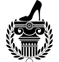 column laurel wreath and womens shoe vector image vector image