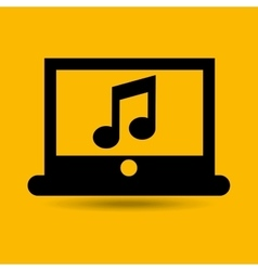 Computer connected cloud music vector