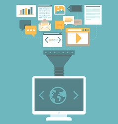 digital marketing concept in flat style vector image