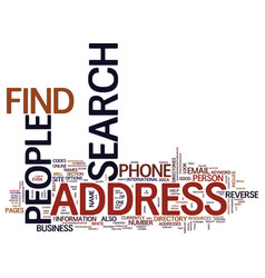 Find people by address text background word cloud vector