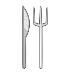Fork and knife icon cartoon style vector image