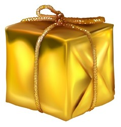 Gold christmas present vector