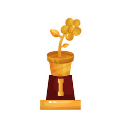 golden statuette of flower pot floristry and vector image