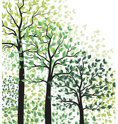 green trees with leaves vector image vector image