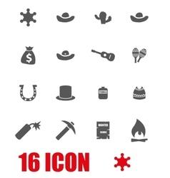 grey wild west icon set vector image vector image
