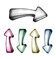hand-drawn arrow set vector image