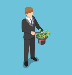isometric businessman use a magic trick to making vector image
