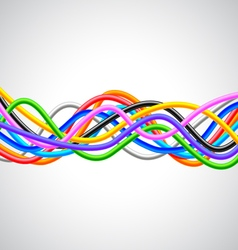 Many colorful cables horizontal wave on white vector image vector image