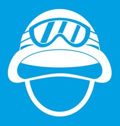 Military metal helmet icon white vector