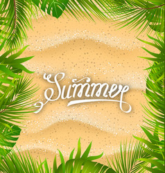 Natural frame with sandy texture and exotic leaves vector