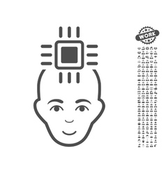 Neural computer interface icon with bonus vector