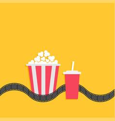popcorn box soda glass with straw film strip line vector image vector image