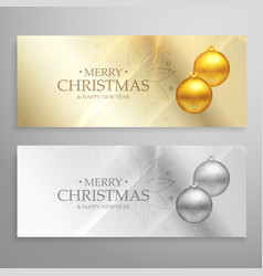 premium set of two christmas banners with golden vector image