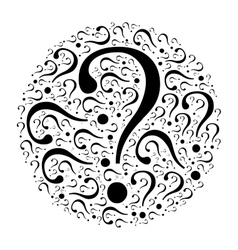 Question mark mosaic in the circle vector image
