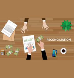 reconciliation white text with two vector image vector image