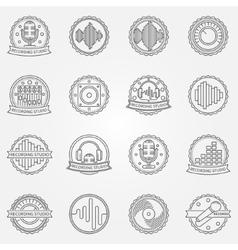 Recording studio labels set vector image vector image