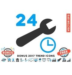Service hours flat icon with 2017 bonus trend vector
