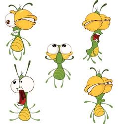 Set of cute cartoon fireflies ani vector