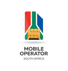 South africa mobile operator sim card with flag vector