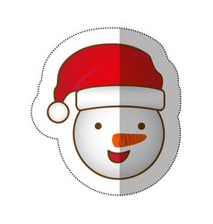 sticker face cartoon snowman christmas design vector image vector image