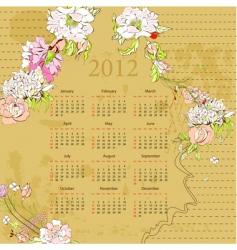 vintage template for calendar 2012 vector image vector image