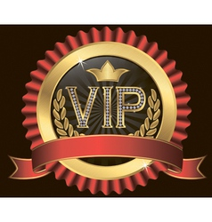 Vip golden label with diamonds and gold ribbons vector image vector image