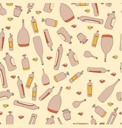 wine bottles seamless pattern vector image vector image