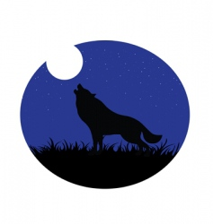 Wolf howling moon vector