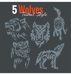 Wolves in tribal style set vector image vector image