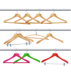 Wooden clothes hangers realistic coat vector