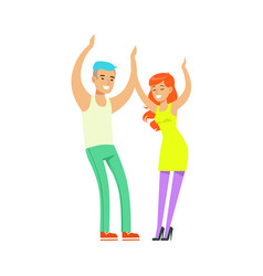 young fashion couple in casual clothes dancing at vector image vector image