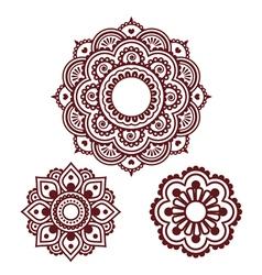 Indian henna tattoo round design - mehndi pattern vector