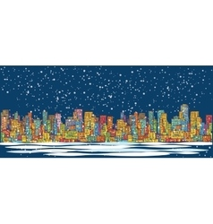 City skyline panorama winter snow landscape at vector