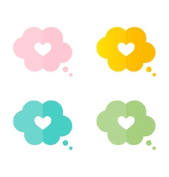 Heart in a thought cloud speech bubble vector