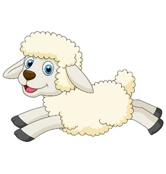 Cute sheep cartoon jumping vector
