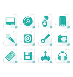Stylized computer and mobile phone elements icons vector