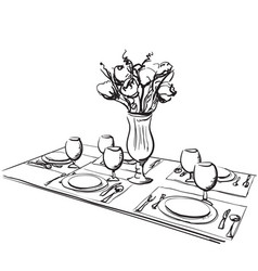 Hand drawn wares romantic dinner for two vector