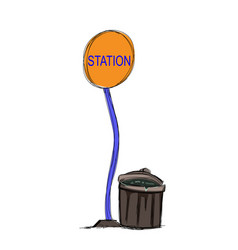 Bus station and trashcan vector
