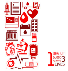 1 bag of blood saves 3 lives seamless pattern vector