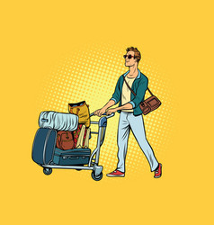 Man tourist with luggage cart vector