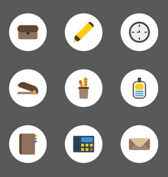 Flat icons contact highlighter letter and other vector