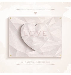 Geometric heart love of antique marble vector