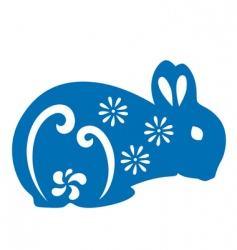 papercut rabbit vector image