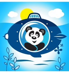 Panda on a submarine vector