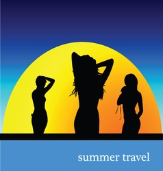 Summer travel with girl vector