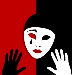 Sad mask on red and black background vector
