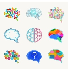 Brain creation and idea icon set vector