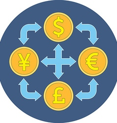 Currency exchange concept flat design icon in blue vector