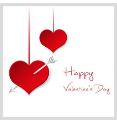 happy valentine with hanging red hearts with arrow vector image