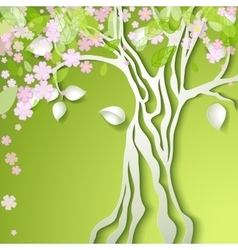 With stylized spring tree vector